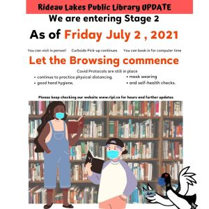 Entering stage 2 as of Friday July 2. Includes library visit, browsing, computer use