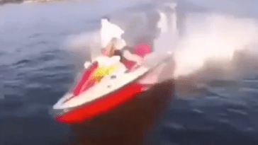 stupid kid crashes jetski