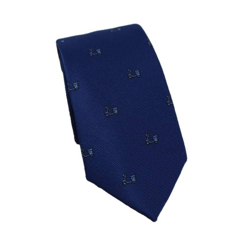 Corbata azul oscuro estampado vespa
