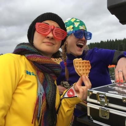 Post-race it's time to bust some beats. And waffles.