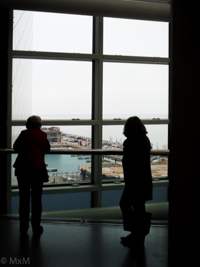 Dreary winter view of Cleveland's Inner Harbor, from The Rock & Roll Hall of Fame.