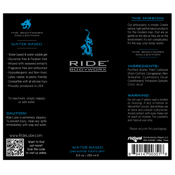Ride BodyWorx Water Based 8.5oz - Label Graphic