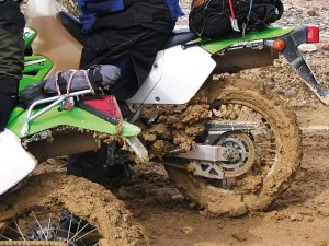 The mud and clay clogs up the front and rear wheels as it begins to dry. It is very hard to remove and caused clutch damage on two motorcycles.