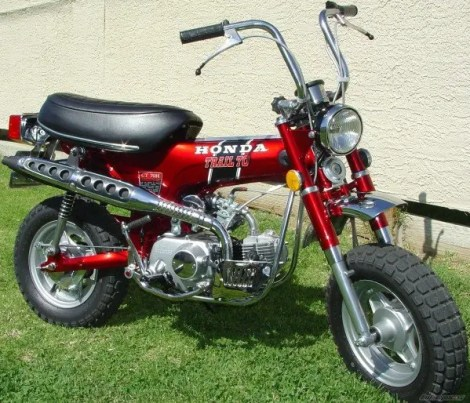 Ted Leslie's first bike was a red 1970's model Honda Trail 70.