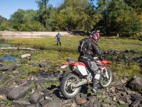 This is a picture from Day 2 crossing the Little River. You can see part of the boulder-strewn river bottom, although I didn't get the most difficult part in this picture. Only a handful of riders make it across without at least a foot down. I was 1 for 2 on my crossings, putting my foot down a few times on my DRZ.