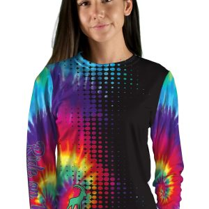 womens long sleeve tie die tizi mountain bike jersey