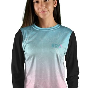 womens long sleeve topo map mountain bike jersey