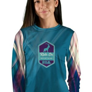 womens long sleeve teal swipes mountain bike jersey