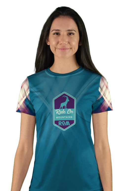 womens short sleeve teal swipes mountain bike jersey
