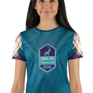 womens short sleeve teal swipes mountain bike jersey
