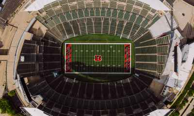drone view of american football arena