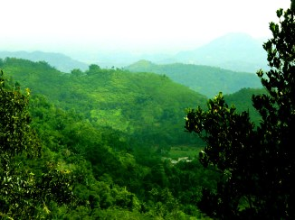 Pemandangan ke Arah Bawah dari Situs Gunung Padang Desa Karyamukti, Kecamatan Campaka Cianjur, Jawa Barat