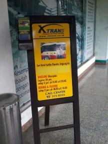 X-Banner XTrans di pick-up point XTrans Semanggi. Hotel Kartika Chandra, Jalan Gatot Subroto Kav. 18, Setiabudi, Jakarta Selatan