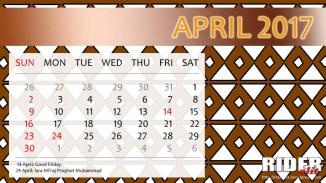 Kalender 2017 - April