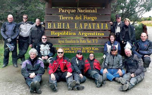 Tierra del Fuego, motorcycle tour group photo
