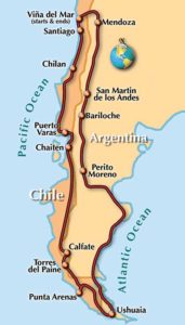 Tierra del Fuego, motorcycle tour route map