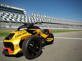 This 150-horsepower turbocharged Can-Am Spyder concept vehicle was unveiled at Daytona International Speedway today.