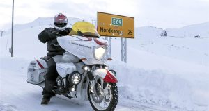Swiss rider Grizzly has already set previous endurance records, including a 9,000-mile trip in 37 days - in the winter!