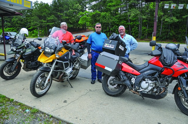 Mississippi and Louisiana riders taking a break along U.S. Route 70 just outside of Hot Springs.