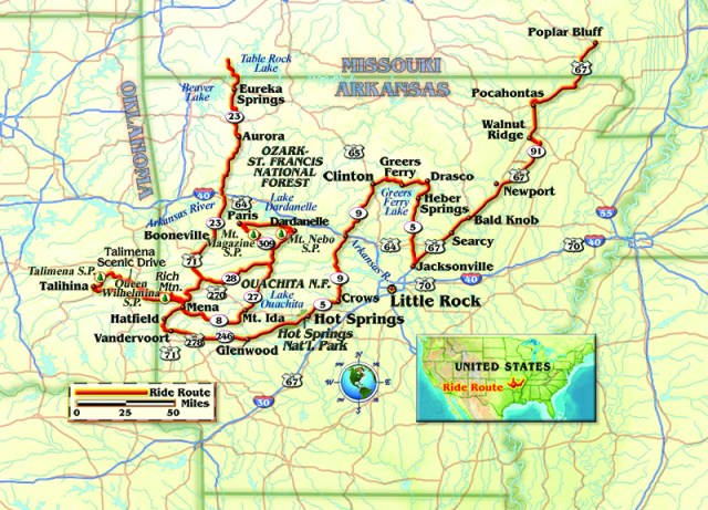 A map of the route, by Bill Tipton, compartmaps.com.