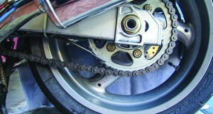 Scottoiler eSystem Chain Oiler on a Ducati ST3.