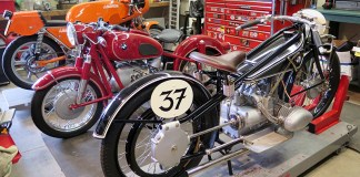Bikes in the Moto Talbott Collection's workshop. From right to left: 1925 BMW R37 Racer 494cc, 1965 BMW R69S 600cc, 1974 Laverda SFC 750cc