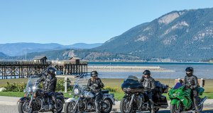 Group shot with Brian, Merridy, Nadine and Ben at the Salmon Arm Wharf, downtown Salmon Arm.