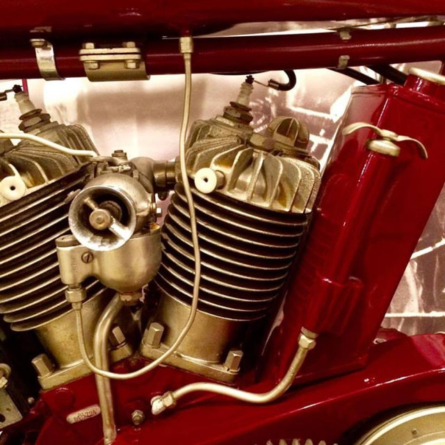 This engine is from the same model of Indian Motocycle as those ridden by the Van Buren sisters on their historic 1916 ride. (Photo: Sisters' Centennial Ride)