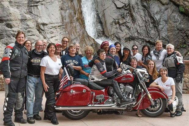 Ride organizer Alisa Clickenger (far left) poses with some of the cross-country group in Colorado. (Photo: Christina Shook)