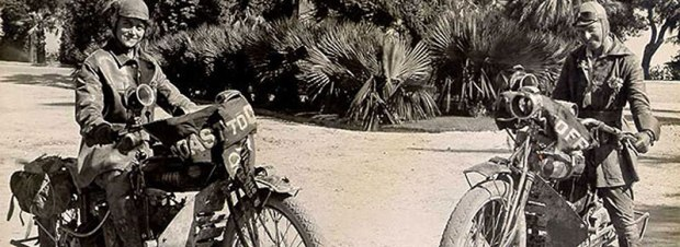 """Augusta (left) and Adeline (right) pose on their Indian """"motocycles."""""""