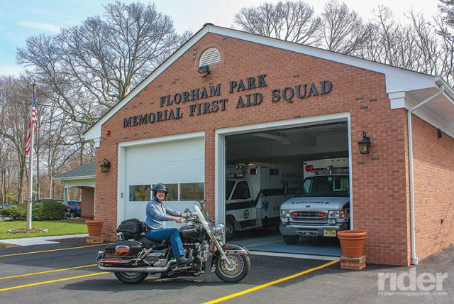The Florham Park Memorial First Aid Squad is an all-volunteer outfit. EMR Russell Breninger is shown on his Triumph Rocket III. It's not an ambulance, but the tail bag is one of the best-equipped medical rescue bags you'll ever see.