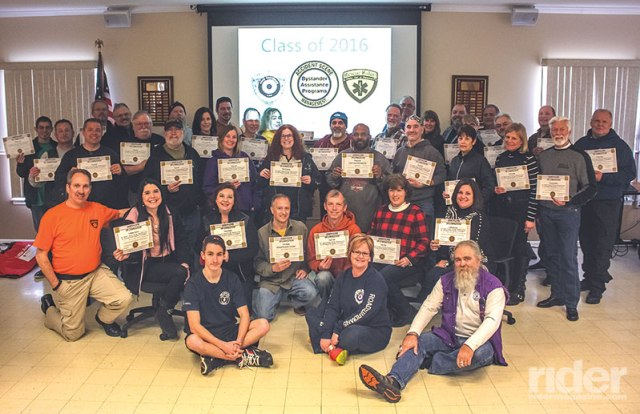 After two full days, course participants show off their certificates.