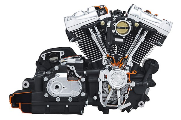 Cutaway of the Milwaukee-Eight 107, which Harley-Davidson says offers faster throttle response, more torque, better sound, improved fuel economy and a smoother ride than the Twin Cam 103.