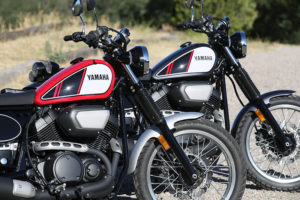 Yamaha's SCR950 is in dealerships now, available in Rapid Red (left) or Charcoal Silver.