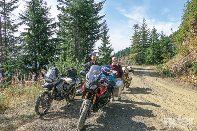 My enduro-riding friends, Wes and Ralph, and I are stopped along a good portion of Forest Road 23 in the Olympic National Forest.
