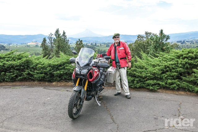 The author at Panorama Point on Eastside Road, looking across the Hood River Valley, about two miles south of the Columbia River.