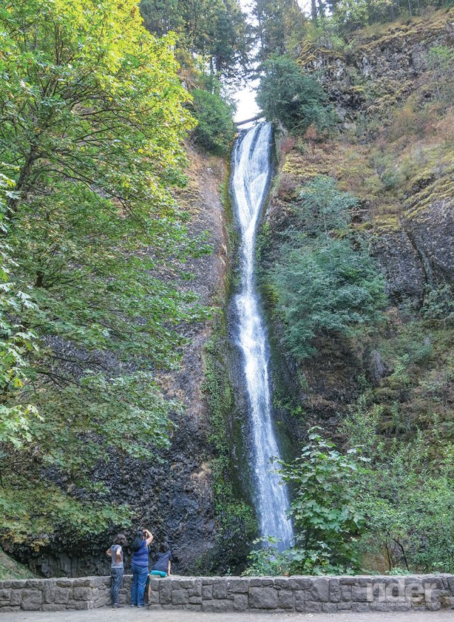 This is one of a dozen waterfalls along the Historic Columbia River Highway, old U.S. 30; the old highway is a wonderfully scenic ride.