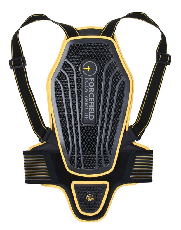 A back protector is an essential piece of equipment. I opted for the Forcefield Pro L2K EVO, since it's flexible, comfortable and has a low profile that fits easily under my track suit and regular riding jackets.
