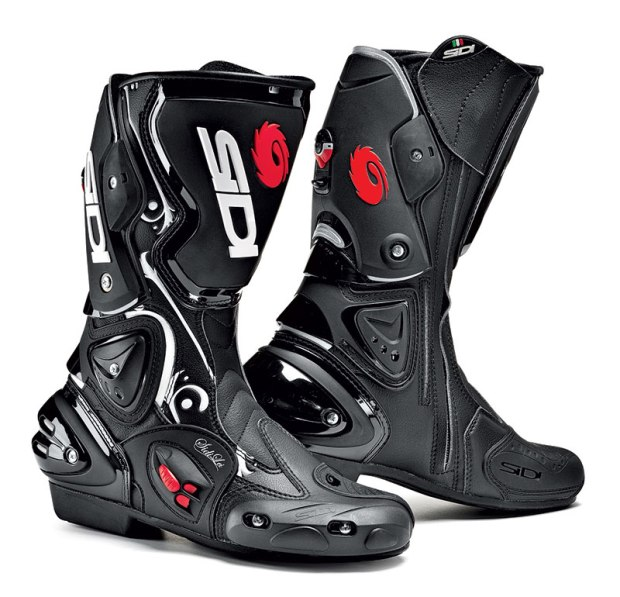 Italian manufacturer Sidi is known for making some of the finest boots around, so I went with the female-specific Vertigo Lei. These track and sport bike-oriented boots have replaceable heel cups, toe sliders, and ankle and calf protectors, and a closure system that allows for a customized fit. Vents on the sides of the foot slide open or closed, and a reinforced shank in the sole gives added support when weighting the pegs.