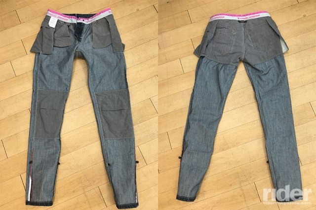 The Dainese Belleville Slim jeans. Dainese backs their aramid liner with gray fabric, which actually increases the abrasion resistance.