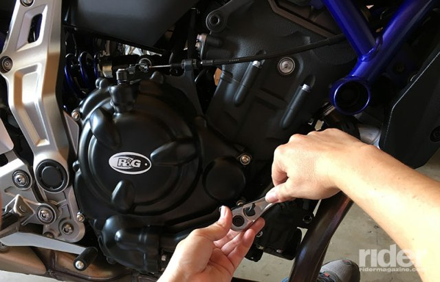 UK-based R&G Racing makes quality crash protection for all types of bikes, including sport-touring and adventure models normally overlooked by other manufacturers. I chose to use R&G because it offers engine case covers that bolt right on, giving me the most protection possible for my borrowed FZ-07.