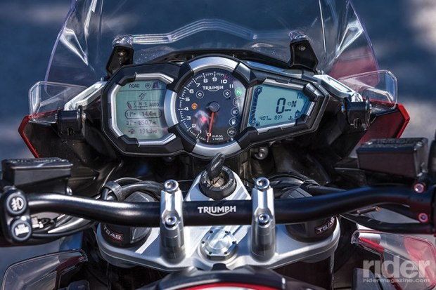 Analog tach is flanked by digital displays. Menus are used to select modes for throttle response, traction control, ABS and semi-active suspension. TC and ABS can be turned off.