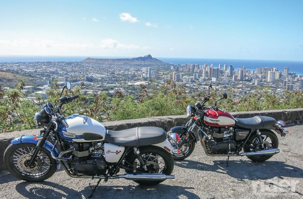 Round Top Drive offers a panoramic view of Honolulu that's made even sweeter with a couple of stunning Triumphs in the foreground. (Photos by the author)