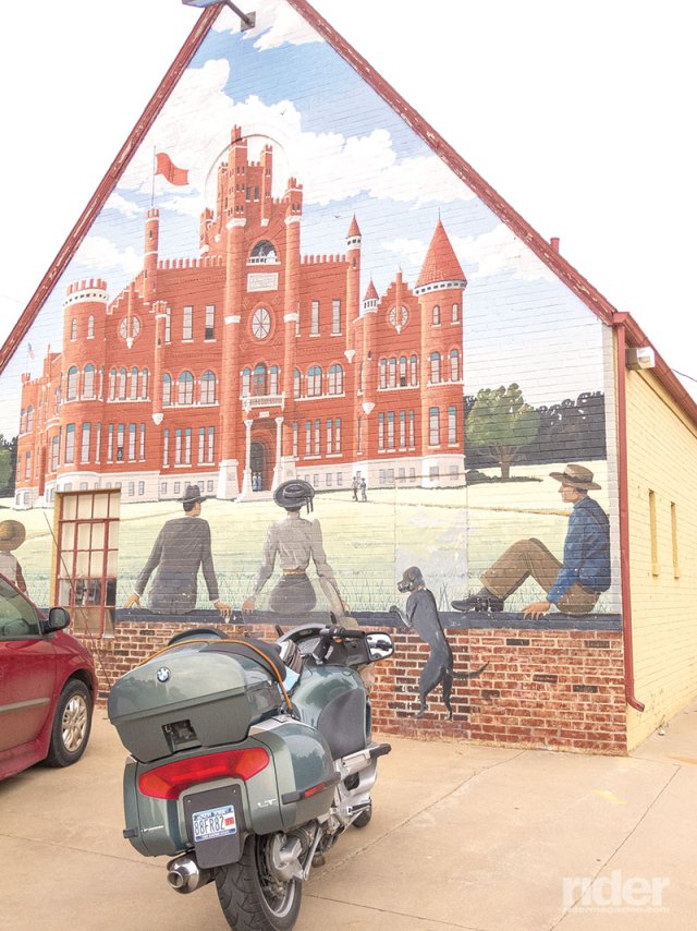 Numerous murals grace buildings in Alva, Oklahoma, this one honoring the town's former Northwestern Oklahoma State University campus, modeled after a Norman castle, which burned down in 1935.
