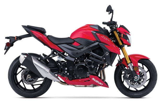 Although blue and red versions of the GSX-S750 are shown, Suzuki says colors have not yet been finalized, though the GSX-S750Z will be in matte black.
