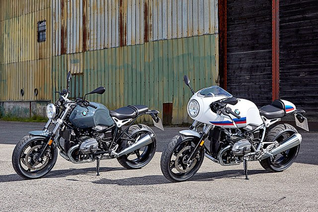 The BMW R nineT Pure is stripped down to essentials while the R nineT Racer is inspired by sport motorcycles from the early '70s.