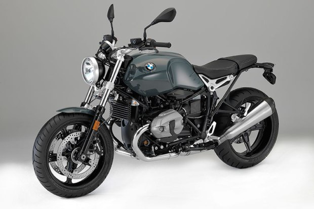 2017 BMW R nineT Pure in Catalano Grey non-metallic paint, a blacked-out drivetrain and brushed stainless exhaust.