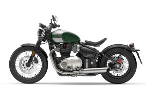 2017 Triumph Bonneville Bobber in Competition Green/Silver Ice
