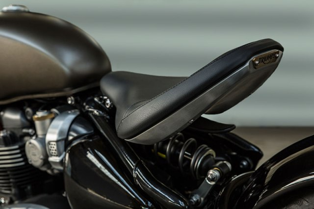 Triumph gave the Bonneville Bobber a unique solo seat that is adjustable for sport riding or laidback cruising.