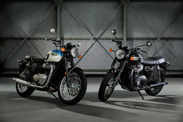 The standard Bonneville T100 (left) comes in a pair of two-tone options or Jet Black; the T100 Black comes in Jet Black or Matt Black.